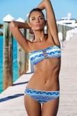 Femmes sexy bustier Bikini Set motif géométrique Strappy haut bas Beach maillots de bain maillot de bain maillot de bain Orange/bleu/blanc