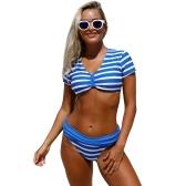 Sexy Frauen Bademode Striped Print V-Ausschnitt mit kurzen Ärmeln Wireless Bikini Set Badeanzug Badeanzüge