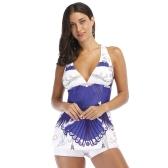 Sexy Frauen Bikini Bademode Tankini Push Up Badeanzug Zwei Stück Bikini Badeanzug Beachwear Blau