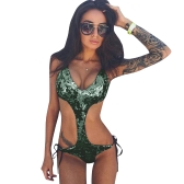 Sexy Women Sequins Swimsuit Bandage Backless Sleeveless Wireless Bathing Suit Beach Wear One-Piece Swimwear