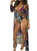 Mulheres Sexy Swimsuit Cover Up Impressão Colorida Lace-Up Padding Sem Fio Maiô Praia Wear Swimwear Geral