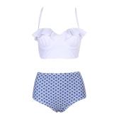Kobiety wysokiej talii drukowane Bikini Set Wzburzyć Push Up wyściełany strój kąpielowy bandaż stroje kąpielowe strój kąpielowy