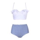 Mulheres de Cintura Alta Impresso Bikini Set Plissado Push Up Acolchoado Underwire Bandage Swimsuit Swimwear Maiô
