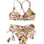 Frauen zwei Stücke Blumendruck Badeanzug