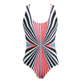 Donne Costume intero a righe colorato Stampa push riempito in su Backless Crossover sexy Retro Swimwear nero