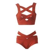 Sexy Bikini Mulheres Set Swimsuit Cut Out profunda V-Neck Cintura alta Bandage Two Piece Maiô Natação