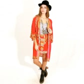 Mujeres Chiffon Kimono Cardigan Bikini Cover Up Impreso Boho Long Loose Casual Beach Robe Blusa Top Rojo