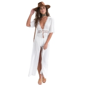Sexy kobiet szyfonu Maxi Cover Up Crochet Lace Bandaż pół rękawy Long Dress Beach Cardigan Swimwear