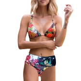Nueva Sexy Women Print Bikini Set Halter Wire Free Padded Cup tanga de cintura alta Biquini Swimwear traje de baño azul oscuro / amarillo