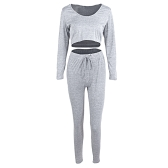 Sexy Frauen 2-teiliges Set mit Kapuze Crop Top Langarm Gym Yoga Workout Fitness Hosen Hoodie Leggings Anzug Outfit Sportwear