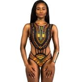 Nueva Sexy Mujeres Impresión étnica traje de baño de una pieza ahueca hacia fuera la vendimia Africano traje de baño Tankini