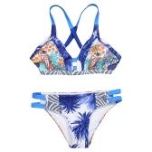 Sexy Women Brazilian Bikini Set Swimsuit wydrukowano stroje kąpielowe wyciąć Bandaż wyściełany strój kąpielowy na plaży niebieski