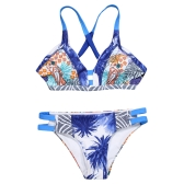 Bikini brasileño de las mujeres atractivas del traje de baño traje de baño impresa corte vendaje acolchado Beach Wear traje de baño azul