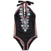 Сексуальные женщины One Piece Купальник Купальники Печать Bodysuit Bandage Halter Cut Out Beach Wear Купальный костюм Backless Monokini