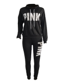 Frauen Sport Set Sweatershirt Hose Brief Drucken Rollkragen Splicing Side