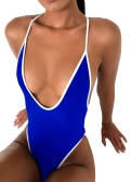 New Sexy Women One-piece Swimsuit Plunge V Neck Solid High Cut Thong Monokini Swimwear Roupa de banho