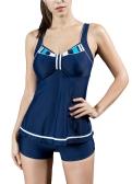 Sexy femmes deux pièces maillot de bain Tankini Set contraste couleur gilet bas Bikini maillots de bain maillot de bain bleu royal / bleu foncé / noir