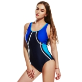 Mulheres Sporty One Piece Swimsuit Cut Out Racer Back Contrast Splicing Completamente acolchoado Swimsuit Jumpsuit Rompers