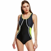 Women Sporty One Piece Swimsuit Cut Out Racer Back Contrast Splicing Padded Swimwear Playsuit Jumpsuit Rompers