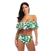 Las mujeres atractivas de la piña de la impresión de la colmena del traje de baño recorta el sistema del bikiní Push Up traje de baño traje de baño verde
