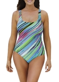 Sexy Women Large Size One-piece Swimsuit Contrast Color Stripes Monokini Swimwear Bathing Suit Blue/Black/Light Green