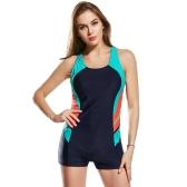 Mode Femmes Une Pièce Maillot De Bain Panneau Splicing Racing Sports Maillots de Bain Racer Retour Monokini