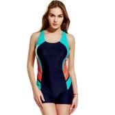 Fashion Women One Piece Swimsuit Panel Splicing Racing Sports Swimwear Racer Back Monokini