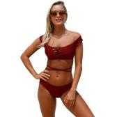 Bañadores Tankini de mujer con cordones fuera del hombro acolchado inalámbrico de dos piezas Bikini Set traje de baño