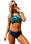 Mujeres atractivas traje de baño Hojas de impresión Halter con cordones Vendaje Bikini de cintura alta traje de baño trajes de baño verde