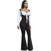 Frauen Jumpsuit Solide Suspender Strap ärmellos Open Back Wide Ausgestellte Beine Bell Bottom Sexy Overalls