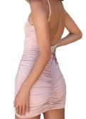 Sexy Women Bodycon Dress Без рукавов Backless Ruched спагетти ремень Deep V-Neck Party Club Slim Mini Dresses