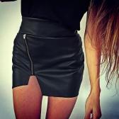 Sexy Women PU Leather High Waist Zipper Closure Irregular Hem Mini Skirt