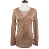 New Fashion Women T-shirt Crochet Lace Panel Round Neck Long Sleeve Slim Fit Solid Casual Blouse Green/White/Khaki