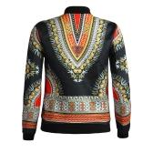 Fashion Women Bomber Jacket Vintage Print Long Sleeve Zipper Outerwear Casual Short Jacket Coat