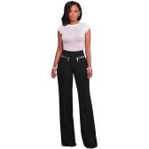 Women Casual Pants Straight Leg Pants High Waist Zipper Solid OL Work Wear Trousers
