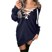 Sexy Women Off Shoulder Hoodie Sweatershirt Pullovers Lace-up manga comprida Deep V Neck Casual Tops Outwear