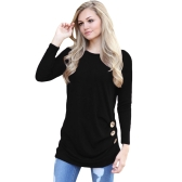 Mulheres Manga comprida T-shirt com botões laterais O Neck Ruched Side Long Tees Casual Tops