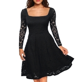 Mulheres vestido de renda floral manga comprida cortar pescoço A-Line Side Zipper Plus Size Evening Wedding Party Dress