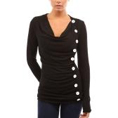 新しいファッション女性のTシャツドレープVネックのTシャツ10ボタンデコレーションロングスリーブTシャツのトップスプルオーバー