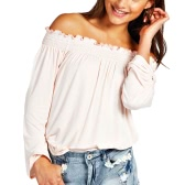 New Fashion Women Blouse Elastic Off Shoulder Long Sleeve Solid Color Casual T-Shirt Tops Tee