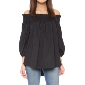 Women Plus Size Off Camisa de blusa de ombro Slash Neck Ruffle 3/4 Sleeve Irregular Long Loose Top Preto / Branco / Azul