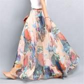 Nuevo Boho mujeres forradas Maxi gasa falda Floral cintura alta Retro Saia Beach Tutu falda larga