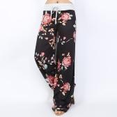 Pantaloni casual larghi da donna Pantaloni a vita bassa con stampa floreale a righe con bandiera americana Pantaloni lunghi a vita alta con elastico in vita