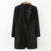 Abody Women Coat Notched Lapel Collar Button Pockets Solid Color Casual Business Suit Overcoat Outwear Autumn Winter