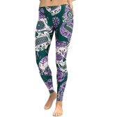 Sexy Women Yoga Sports Leggings Floral Skull Head Diamond Print High Cintura Workout Running Skinny Slim Fitness Pants