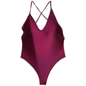 Mulheres One Piece Swimsuit Spaghetti Strap Open Back Sólido Completo Swimwear Monokini Bathing Suit