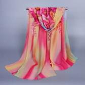 Nuevas mujeres bufanda de la gasa Floral Print degradado Color chal Pashmina playa bufanda rojo/verde/púrpura/rosa