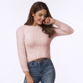 Mode Femmes Chandail Tricoté Solid O-Neck Long Sleeve Casual Warm Winter Jumper Pullover Tricots