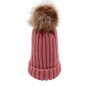 Women Thickening Knitted Beanies Hat Dome Outono Inverno Cap Capa morna Headwear com bola de Fluff