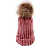 Женщины Утолщение Трикотажные Beanies Hat Купол Осень Зимняя крышка Теплый головной убор шляпы с мячом из пуха